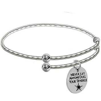 Initial Engraved Bracelet Expendable Charm Bangle Silver with Personalized Rhombus Stripe Girl Graduation Gift