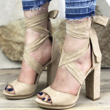 Jessie Tie Up Heel - Nude FINAL SALE