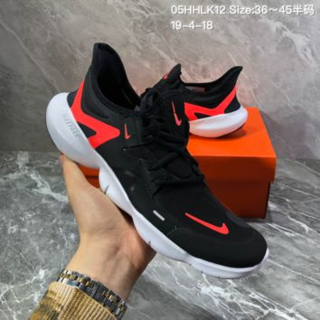 hcxx N1264 Wmns 2019 Nike Free Rn Flyknit 5.0 Sport Running Shoes Black Red