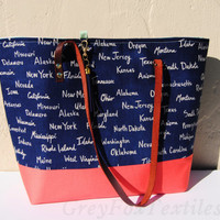 STATE TOTE BAG, Navy and coral shoulder bag, United States market bag, blue and coral purse, Navy mint and coral, reusable grocery bag