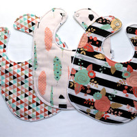 Baby Bib Set - Modern Baby Bib Set - Gold Floral, Feather, and Triangle Print - Gold, Mint, and Pink Bibs - White Minky - Handmade Baby