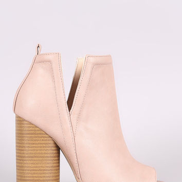 Qupid Side Cutout Peep Toe Chunky Heeled Booties