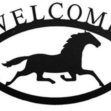 Wrought Iron Large Running Horse Welcome Home Sign Large