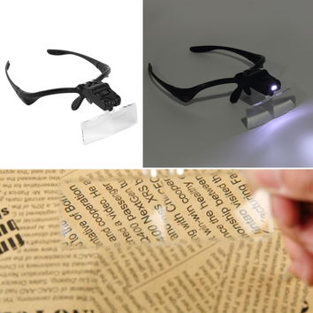 Lowest Price 5X Lens Adjustable Loupe Headband Magnifying Glass Magnifier with LED Magnifying Glasses Jeweler Watch Repair