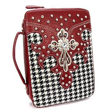 Houndstooth Rhinestone Cross Bible Cover Case Bama Alabama Rolltide (Red)