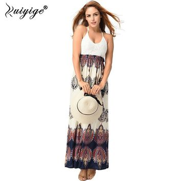 Ruiyige Women Sexy Backless Spaghetti Strap Beach Dress Bohemian Style V-neck Long Gown Lace High Waist Maxi Holiday Dresses New