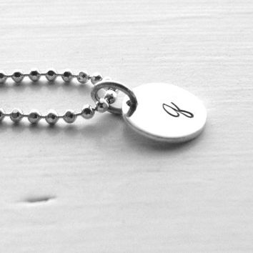 q Initial Necklace, Letter q Necklace, All Letters Available, Hand Stamped Jewelry, Sterling Silver Jewelry, Charm Necklace, Initial Jewelry