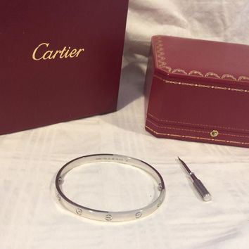 Special Cartier Love Bracelet White Gold Size 20 New Screw System OVERNIGHT SHIP