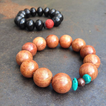 Buddha bracelet Big natural rosewood beads Gift for guys Shamballa style Energy bracelet Brown Men wood bracelet Stretchy Eco friendly Cloud