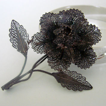 Antique Cannetille Silver Spun Wire Floral Filigree Brooch  * Vintage Jewelry * Jewellery
