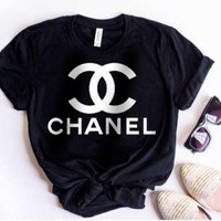 Chanel Popular Women Logo Print Short Sleeve Round Collar T-Shirt Top Black I