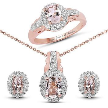 14K Rose Gold Natural Peach Morganite Diamond Halo Engagement Ring Necklace and Earrings Set