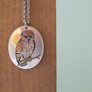 Silver Owl Necklace Reed and Barton Damascene Woodland Jewelry 1960