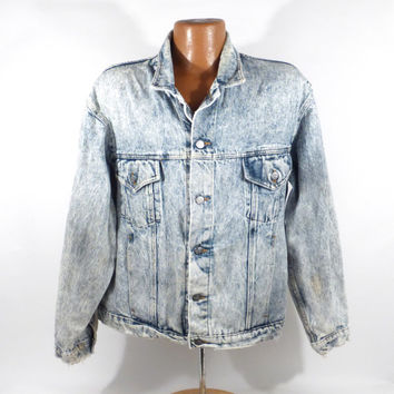 Denim Jean Jacket Vintage 1990s Harley Davidson Acid Wash Men's XL