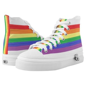 Painted Rainbow Flag High-Top Sneakers