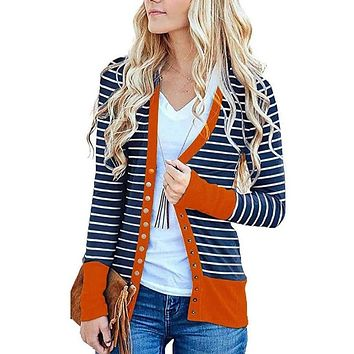 Karisti Striped Button Snap Cardigan