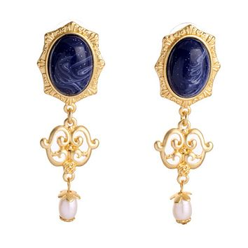 Lapis and Pearl Baroque Earrings