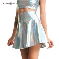 Holographic High Waist Umbrella Skirt (5 Colors)