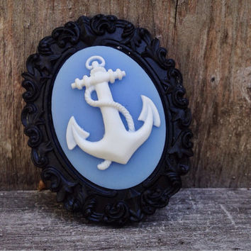 Anchor brooch nautical broach steampunk lapel pin black white cameo cornflower blue gothic summer jewelry marine victorian captain summer