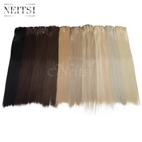 """Neitsi 22"""" 7pcs/set 140g 16clips Straight Synthetic Clip In Hair Extensions Heat Resistant Fiber Braiding Hairpieces 10 Colors"""