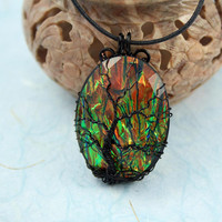 Opalescent Green Tree of Life black wire-wrapped pendant