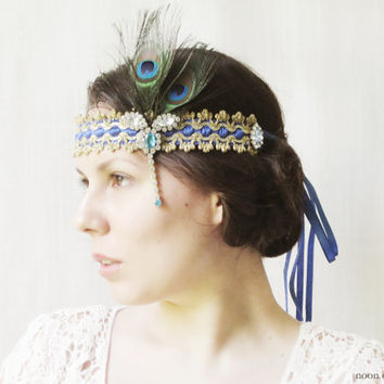 1920s Inspired Headpiece, Flapper Headband, Gatsby Style Hair Accessories, Art Deco, Vintage, Peacock Feathers, Rhinestones, Blue, Gold