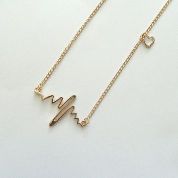 Gold Heartbeat EKG Necklace, Anniversary, Valentine's, Cute Gift , Bridesmaids Gift, Heartbeat Jewelry, Unique Heart Necklace