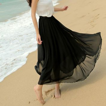 2017 Long Skirt Princess pleated Skirt Elegant Skirt Long Women Fashion Elastic Waist Ultra-long Big Bottom Full Chiffon Skirt
