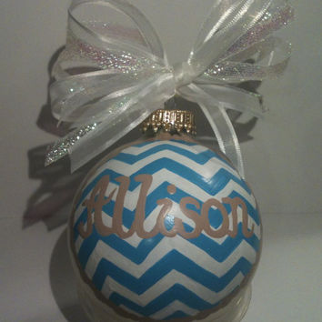 Hand Painted Chevron Style Personalized Glass Ornament You Choose Color