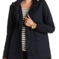 Hooded Long Line Anorak Coat by Charlotte Russe - Navy