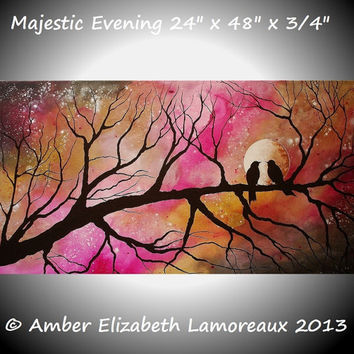 "Huge 24"" x 48"" Original Painting Majestic Evening Surreal Amber Elizabeth Lamoreaux Tree Branches Birds Silhouette Love Modern Art Romance"