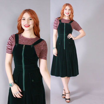 Vintage 70s Jumper DRESS / 1970s Dark Green Velvet Sleeveless OVERALLS Dress XS