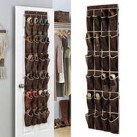 24 Grid Home Over The Door Hanging Organizer Convenient Storage Holder Rack Closet Shoes Keeping