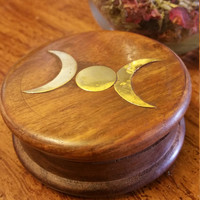 Wooden Herb Grinder with Brass Triple Moon Inlay