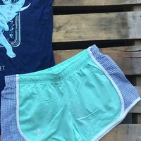 Mint With Navy Seersucker Shorties by Lily Grace