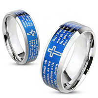 Thy Kingdom Come - Lord's Prayer inscribed blue IP bevelled edge stainless steel his and hers ring