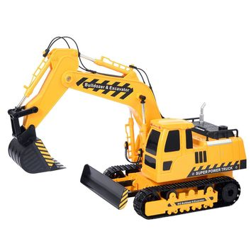 Goplus 1/18 5CH Remote Control RC Excavator Construction Bulldozer Digger Truck
