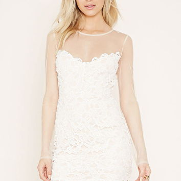 Sheer Ornate Crochet Mini Dress