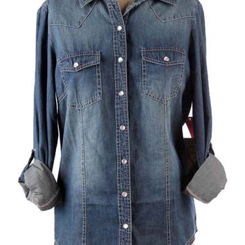 Wardrobe Essential Chambray Blouse - Dark