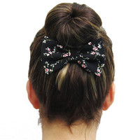 BLACK FLORAL BOW on a metal hair clip. Perfect for under a hair bun or for a nice ponytail