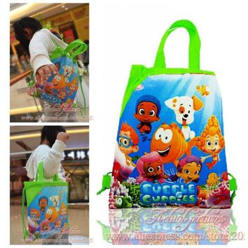 1PCS Bubble Guppies Children Drawstring Backpacks School Shopping Bags 34*27CM Non Woven Fabrics Kids Birthday Party Best Gift