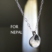 Nepal Aid Item, Nepali style silver petal necklace, proceeds go to Earthquake relief for Nepal, Red Cross donation