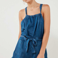 Kimchi Blue Chambray Apron Tunnel Neck Romper | Urban Outfitters
