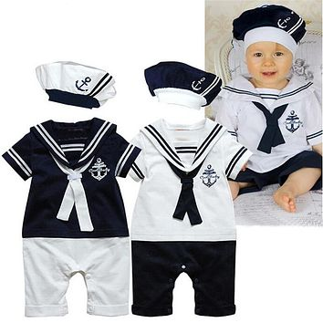 Toddler Baby Boy Girl Sailor Costume 2pcs Navy Style Baby Autumn-Summer Baby Clothing Kids Rompers Short Sleeves Romper+Hat Set