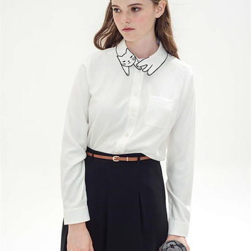 2016 Spring Vintage White Blouse Long Sleeve Shirt For Fashion Women Hot Cute Cat Embroidery Collar
