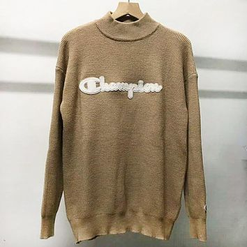 Champion Autumn And Winter New Fashion Bust Letter Women Men Long Sleeve Top Sweater Khaki