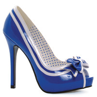 Royal & White Peep Toe Siren Heels