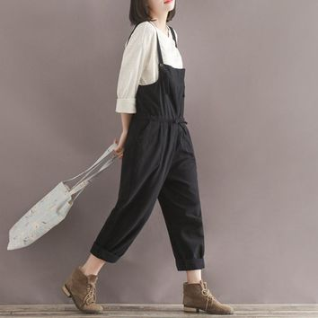 Spring Summer New Plus Size Casual Black Cotton Linen Overalls Pants Women Students Slim Wide Leg Harem Rompers Pants Pantalones