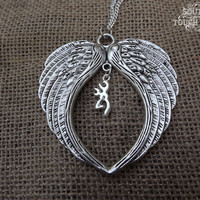 angel wing necklace, deer necklace, silver wing necklace, silver deer jewelry, country jewelry, southern necklace, cute redneck,