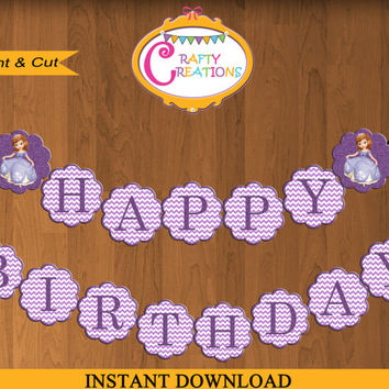 Sofia the First Banner - Sofia Glitter -Disney Sofia Printable Banner- Sofia Birthday Party - Sofia Happy Birthday Banner- INSTANT DOWNLOAD